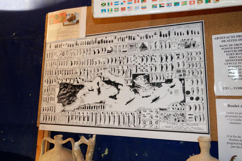 Le tableau qui permet de dater les amphores er autres poteries et par là même l'épave